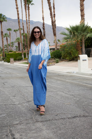 Blue Solid Bottom Tie Dye Caftan