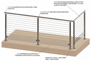 SPG1-2000 stainless steel cable and glass railing