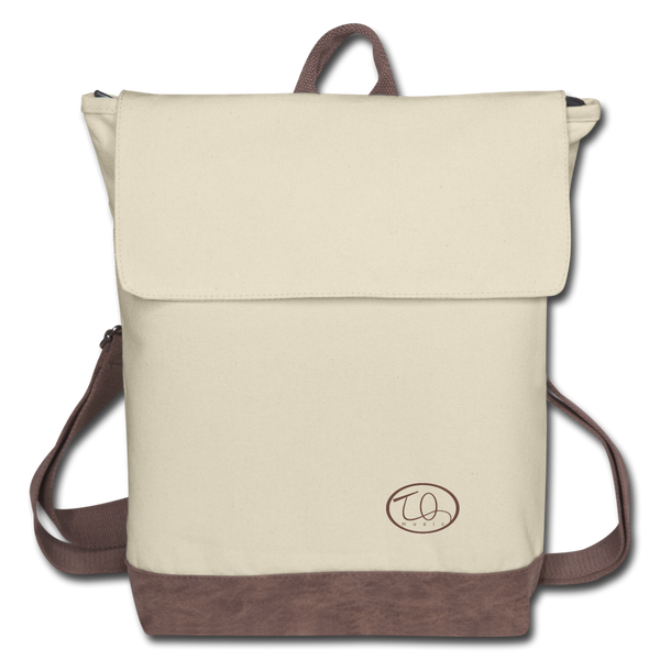 TQ Music Logo Canvas Backpack - ivory/brown