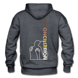 Reconciliation Hoodie - (light print) - charcoal gray
