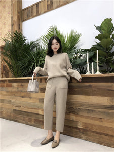 Sweater with High Waist Pants
