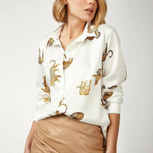 Load image into Gallery viewer, Long Sleeve Blouse with Leopards