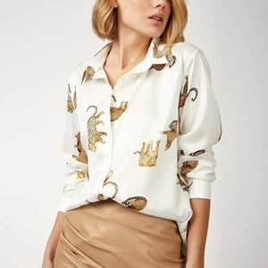 Long Sleeve Blouse with Leopards