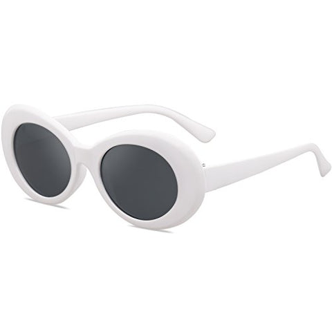 Oval White Retro Vintage Sunglasses