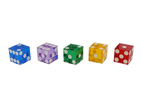 Set of 5 Vintage Colors Grade AAA 19mm Casino Dice