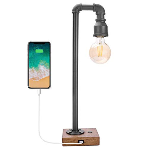 Vintage Table Lamp with USB Charging