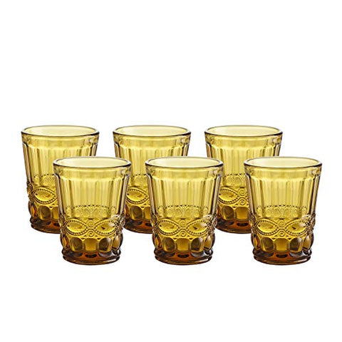 Set of 6 Colored Water Glass Vintage 7.5 Oz