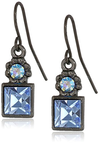 Vintage Blue AB Crystal Square Drop Earrings