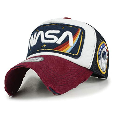 NASA Logo Embroidery Retro Rainbow Cap