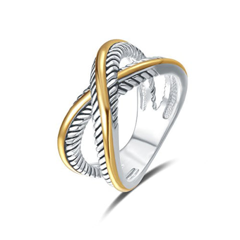 Vintage braided wire ring with two tone coating