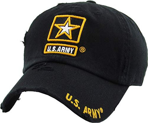 US Army Military Vintage Adjustable Cap Black