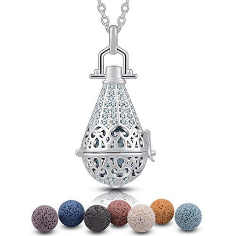 "Aroma Lava Stone Vintage Aromatherapy Essential Oil Diffuser, Power of Nature, Pendant Necklace, 24 ""+ 7 PCS Rocks - UniqueVintages"