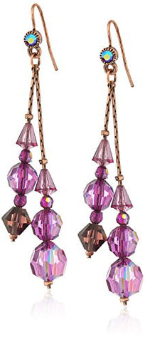Vintage Purple AB Beaded Linear Drop Earrings