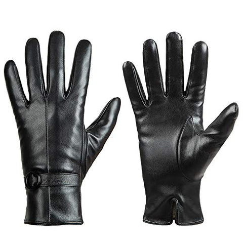 Winter Leather Black Gloves