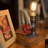 Vintage Desk Lamp,Dimmable Retro Industrial Desk Light Iron Pipe Table Lamp