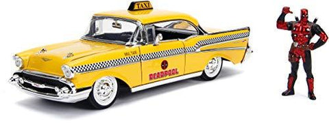 Deadpool & 1957 Chevrolet Bel Air Taxi Yellow 1:24 DieCast - UniqueVintages