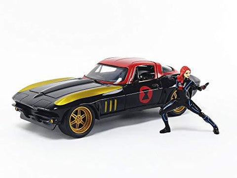 Black Widow & 1966 Chevy Corvette 1:24 DieCast - UniqueVintages
