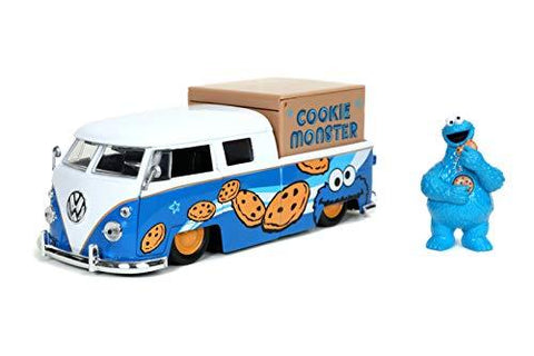 Sesame Street Cookie Monster 1962 Volkswagen Bus 1:24 DieCast - UniqueVintages