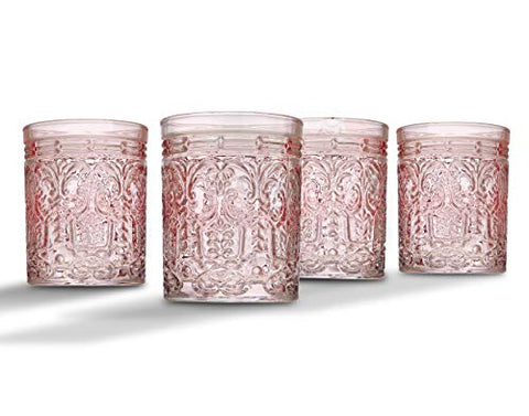 Set of 4 Vintage Beverage Pink Glass Cup