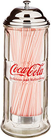 Coca-Cola Glass Straw Dispenser with Metal Lid