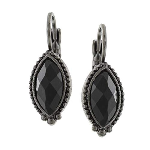 Vintage Black Tone Navette Earrings