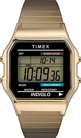 Timex Classic Digital Gold-Tone Stainless Steel Watch T78677