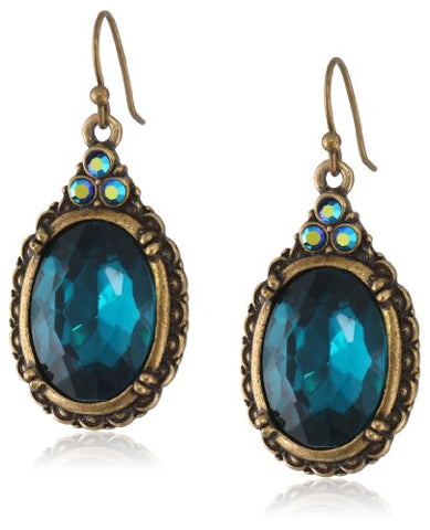 Vintage Blue Zircon Oval Faceted Earrings