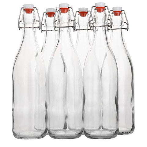Set of 6 Flip Top Glass Retro Bottle