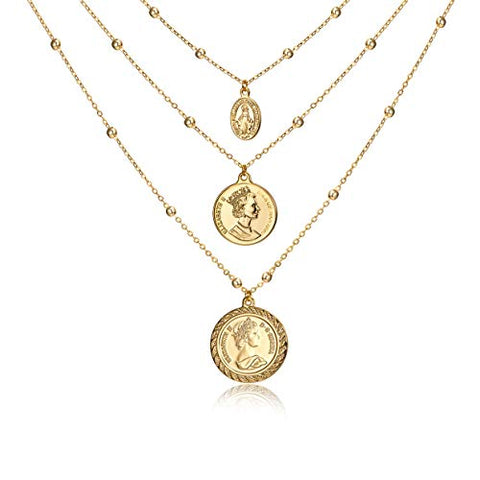 Vintage Necklace with 18K Gold Plated Coins Pendant