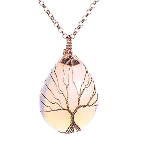 Vintage Necklace Tree of Life Teardrop Opalite