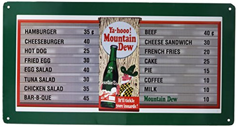 Mountain Dew Retro Menu Board Metal Sign
