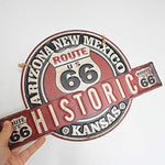 Retro Historic Route 66 Embossed Metal Sign