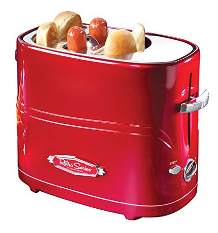 Retro Red Hot Dog and Bun Toaster With Mini Tongs
