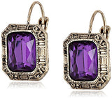 Vintage Purple Faceted Amethyst Crystal Drop Earrings