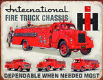 International Fire Truck Chassis Vintage Metal Sign