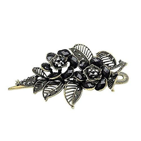 Vintage Black Rose Rhinestone Hair Clip - UniqueVintages