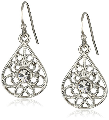 Vintage Silver-Tone Crystal Petite Filigree Teardrop Earrings