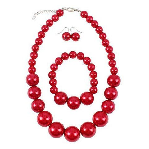 "Large Retro Simulated Red Pearl 19"" Set - UniqueVintages"