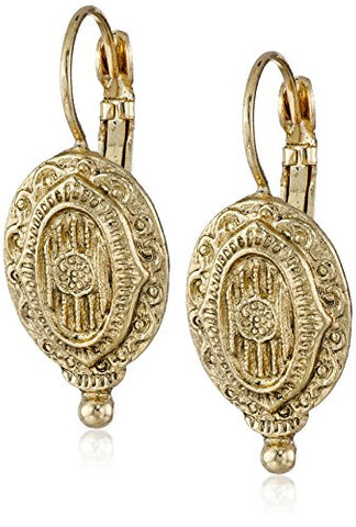 Vintage Brass Antique Inspired Oval Drop Earrings