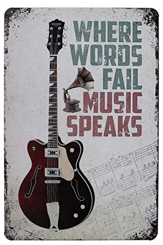 Vintage Music Speaks Metal Sign