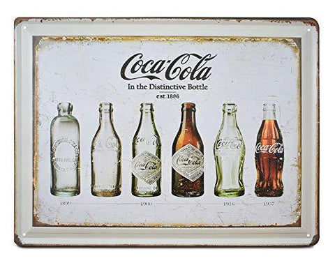 Coke Bottle Evolution Retro Metal Sign - UniqueVintages