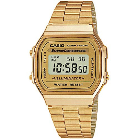 Casio Vintage Retro Gold Digital Dial Stainless Steel Watch A168WG9UR