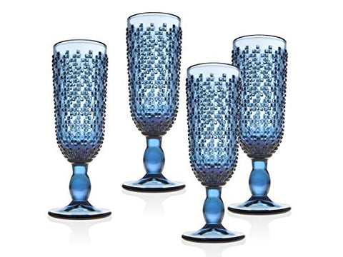 Set of 4 Blue Vintage Champagne Flute 8.5oz