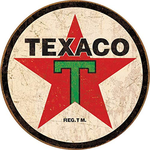 Texaco Vintage Round Metal Sign 11.75""