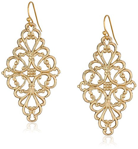 Vintage Gold-Tone Filigree Diamond Drop Earrings