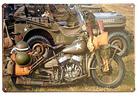 Military Motorcycle Vintage Metal Sign