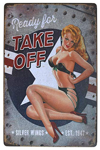Ready for Take Off Pin-up Girl Retro Metal Sign
