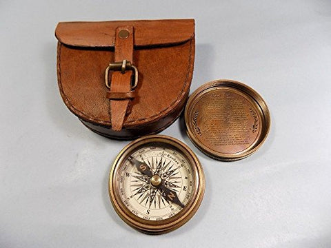 Vintage Brass Pocket Compass with Leather Case