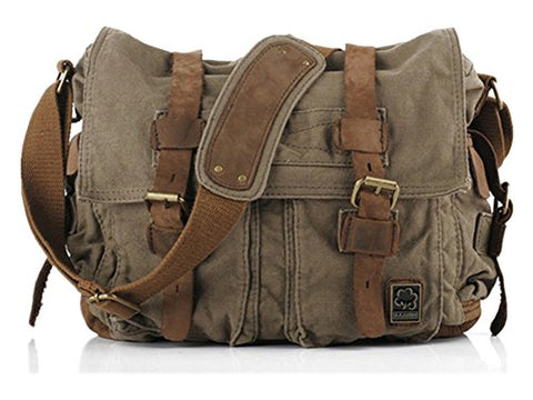 Canvas Leather Messenger Bag small 13''