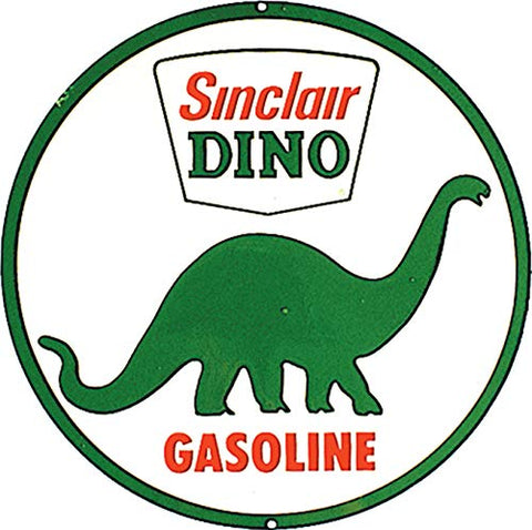 Vintage Sinclair Dino Gasoline Metal Sign 11.75""